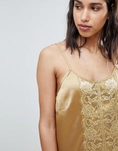 Платье-комбинация с кружевом Sofie Schnoor - Золотой