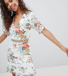 Платье с цветочным принтом и ажурной отделкой Parisian Petite - Белый