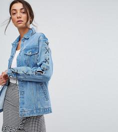 Свободная джинсовая куртка с рукавами на шнуровке Chorus Tall - Синий
