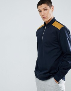 Рубашка классического кроя с короткой молнией и вставкой горчичного цвета ASOS DESIGN - Темно-синий
