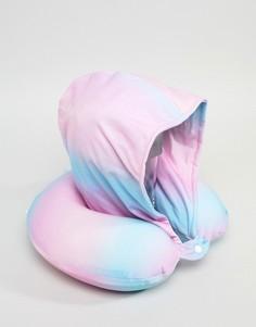 Дорожная подушка для шеи с капюшоном и эффектом омбре Typo - Мульти