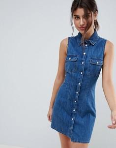 Синее джинсовое платье-рубашка ASOS DESIGN - Синий