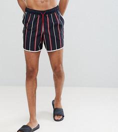Короткие шорты для плавания в полоску (красный/белый) ASOS DESIGN Tall Runner - Черный