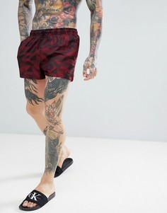 Жаккардовые короткие шорты для плавания Calvin Klein - Красный