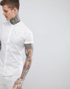 Белая приталенная рубашка с бейсбольным воротником ASOS DESIGN - Белый
