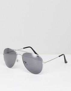 Солнцезащитные очки-авиаторы с цветными стеклами 7x - Серебряный