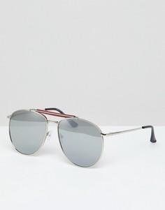 Солнцезащитные очки-авиаторы с зеркальными стеклами 7x - Серебряный