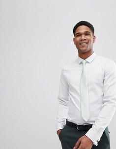 Узкая рубашка мятного цвета с узором в елочку и двойными манжетами ASOS DESIGN Wedding - Зеленый