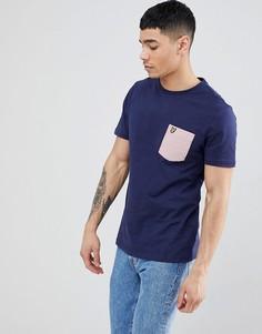 Темно-синяя футболка с круглым вырезом и карманом в полоску Lyle & Scott - Темно-синий