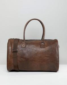Коричневая сумка из искусственной кожи с тиснением ASOS DESIGN - Коричневый