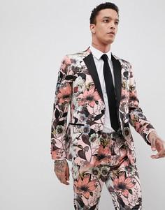 Розовый пиджак скинни с цветочным принтом ASOS EDITION - Розовый