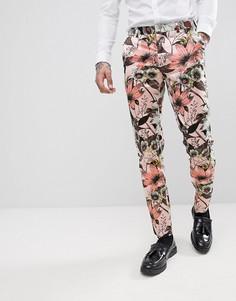 Розовые брюки скинни с цветочным принтом ASOS EDITION - Розовый