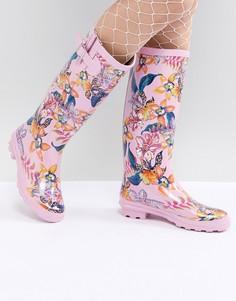 Резиновые сапоги с цветочным принтом ASOS DESIGN - Розовый