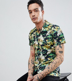 Строгая приталенная рубашка с гавайским принтом и отложным воротником Heart & Dagger - Желтый