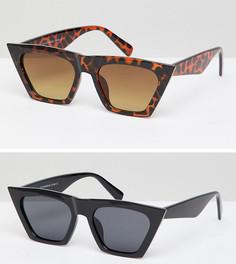 Солнцезащитные очки в квадратной оправе - набор из 2 7X - Мульти