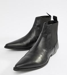 Черные ботинки челси для широкой стопы из искусственной кожи ASOS DESIGN - Черный