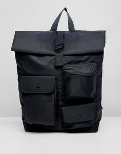 Черный рюкзак с ролл-топом и карманами в стиле милитари ASOS DESIGN - Черный