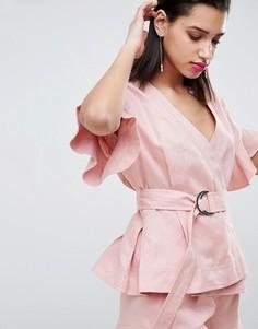 Льняная куртка с оборками на рукавах Forever New - Розовый
