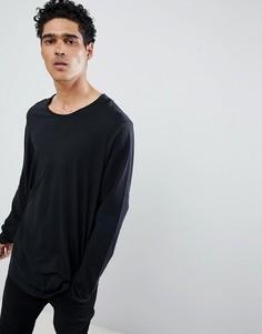Черный удлиненный лонгслив с асимметричным подолом Esprit - Черный