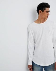Белый удлиненный лонгслив с асимметричным подолом Esprit - Белый