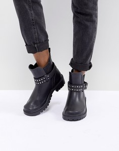 Резиновые сапоги в байкерском стиле с заклепками ASOS DESIGN - Черный
