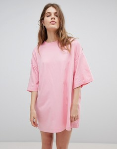 Платье-футболка Weekday Huge - Розовый