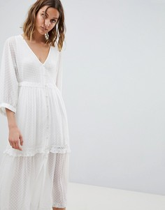 Платье миди на пуговицах с принтом AllSaints - Белый