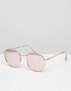 Золотисто-розовые круглые солнцезащитные очки Glamorous - Золотой
