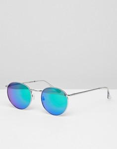 Синие круглые солнцезащитные очки с зеркальными стеклами Glamorous - Синий