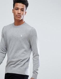 Светло-серый меланжевый свитшот с круглым вырезом и логотипом Abercrombie & Fitch - Серый