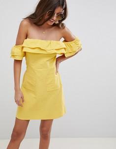 Летнее платье мини с оборкой ASOS DESIGN - Желтый