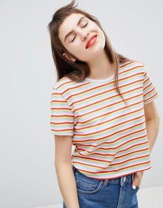 Укороченная футболка в разноцветную полоску Monki - Мульти