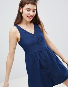 Темно-синее свободное платье в горошек на пуговицах Monki - Синий