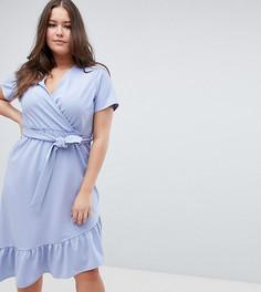 Платье миди с поясом и оборкой ASOS DESIGN Curve - Синий