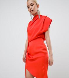 Атласное платье миди с драпировкой ASOS DESIGN Petite - Оранжевый