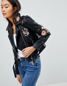 Байкерская куртка с цветочным принтом Pimkie - Черный
