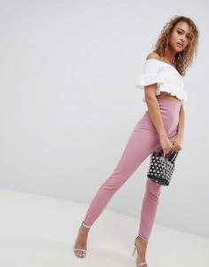 Зауженные брюки с завышенной талией ASOS DESIGN - Розовый