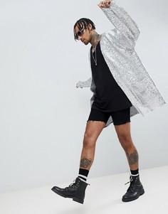 Фестивальная oversize-куртка с серебристыми пайетками ASOS DESIGN - Серебряный