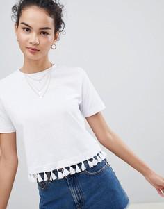 Укороченная футболка с отделкой кисточками ASOS DESIGN - Белый