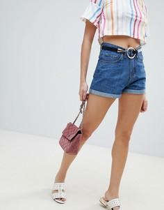 Джинсовые шорты в винтажном стиле PrettyLittleThing - Синий
