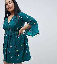 Платье с разрезами на рукавах и цветочным узором Missguided Plus - Зеленый