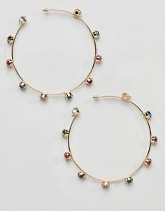 Серьги-кольца с радужными стразами Missguided - Золотой