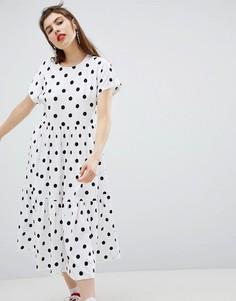 Платье миди в горошек Monki - Белый