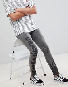 Черные джинсы скинни с принтом ASOS DESIGN - Черный