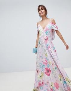 Платье макси с открытыми плечами и плиссировкой ASOS DESIGN - Мульти