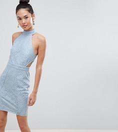 Кружевное облегающее платье с вырезами Boohoo - Синий