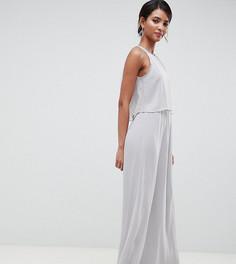 Серое платье макси 2 в 1 с отделкой Silver Bloom - Серый