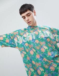Oversize-футболка с принтом Night Addict - Зеленый