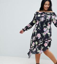 Чайное платье с открытыми плечами, присборенными манжетами и цветочным принтом ASOS DESIGN Curve - Мульти