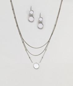 Подарочный набор с ожерельем и серьгами Nylon - Серебряный